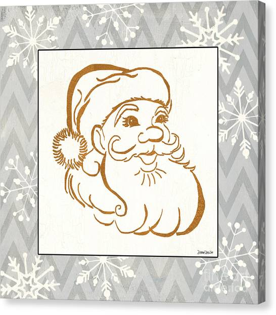 Snowflakes Canvas Print - Silver And Gold Santa by Debbie DeWitt