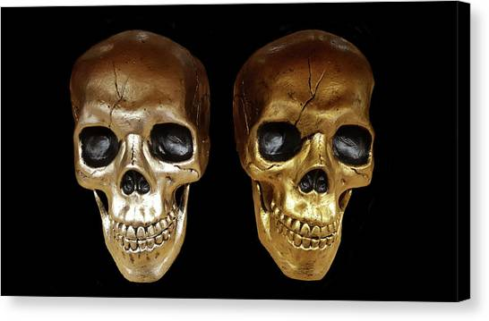Archeology Canvas Print - Silver And Golden Skulls by Art Spectrum