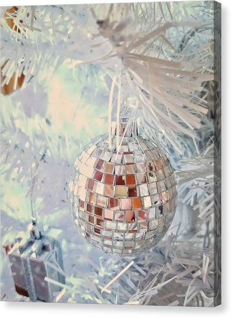 Silver And White Christmas Canvas Print