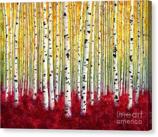 Silver Canvas Print - Silver Birches by Hailey E Herrera
