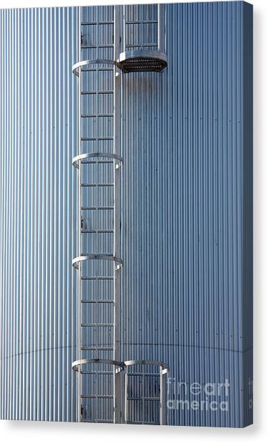 Silver Blue Silo With Steel Ladder. Canvas Print
