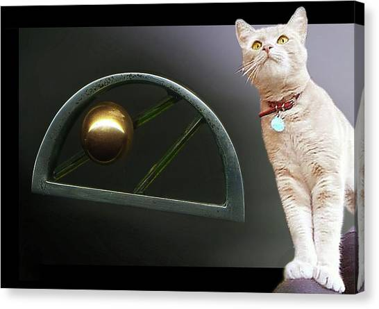 Cat, Silver And Gold  Brooch Canvas Print