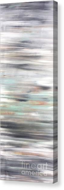 Silver Coast #25 Silver Teal Landscape Original Fine Art Acrylic On Canvas Canvas Print