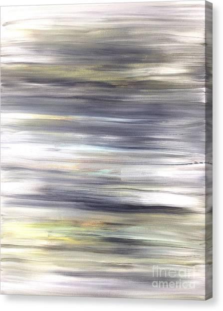 Silver Coast #26 Silver Teal Landscape Original Fine Art Acrylic On Canvas Canvas Print