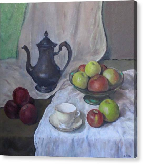 Silver Coffeepot, Apples, Green Footed Bowl, Teacup, Saucer Canvas Print