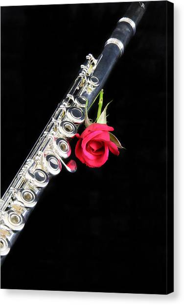 Silver Flute Red Rose Canvas Print