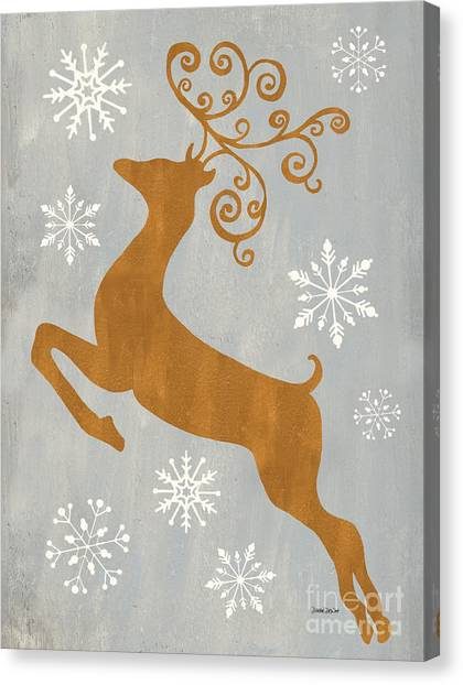 Gifts Canvas Print - Silver Gold Reindeer by Debbie DeWitt