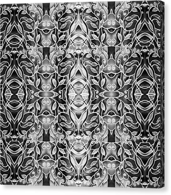 Silver Leaf Canvas Print - Silver Gray Watercolor Batik Pattern by Irina Sztukowski