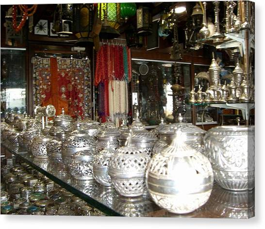 Silver In The Arabian Souq Canvas Print by Sunaina Serna Ahluwalia