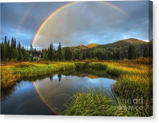 Silver Lake Rainbow Canvas Print
