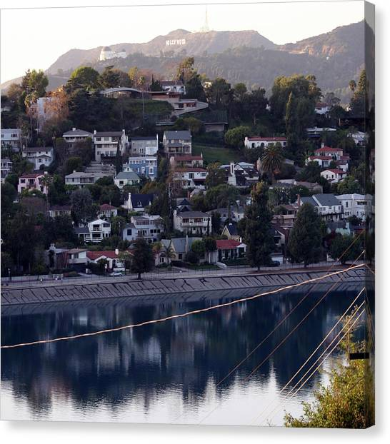 Silver Lake Reservoir And Hollywood Hills Canvas Print