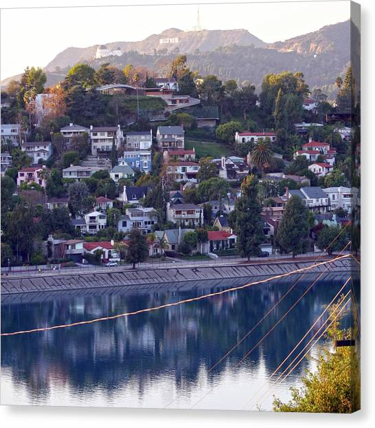 Silver Lake Reservoir With Griffith Observatory And Hollywood Sign Canvas Print