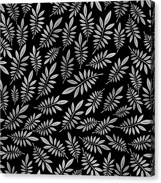 Black And White Canvas Print - Silver Leaf Pattern 2 by Stanley Wong