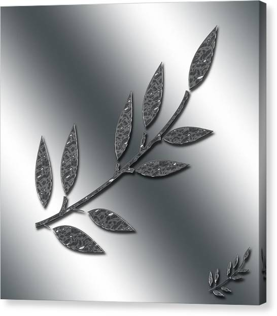 Silver Leaves Abstract Canvas Print
