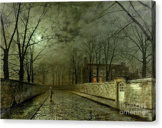 Streets Canvas Print - Silver Moonlight by John Atkinson Grimshaw