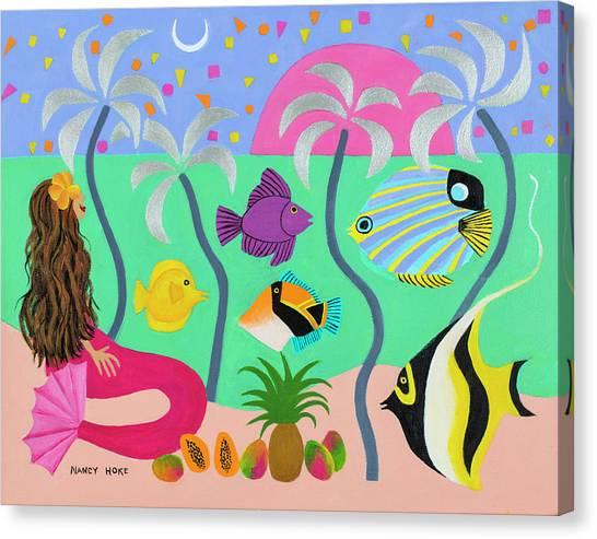 Angel Mermaids Ocean Canvas Print - Silver Palms by Nancy Hoke