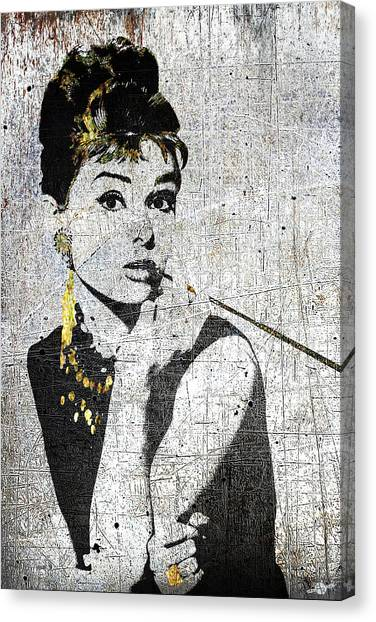 Hepburn Canvas Print - Silver Screen Breakfast At Tiffany's by Tony Rubino