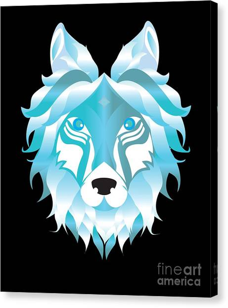 Canvas Print - Silver Snow Wolf Art Wolves Pack Alpha Canidae Animals Gift by Thomas Larch