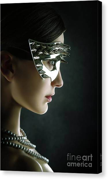 Canvas Print featuring the photograph Silver Spike Beauty Mask by Dimitar Hristov
