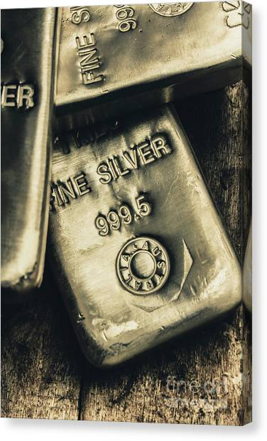 Currency Canvas Print - Silver Stackers Artwork by Jorgo Photography - Wall Art Gallery