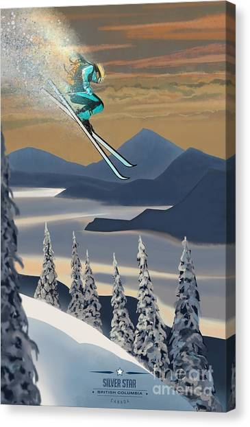 Canvas Print featuring the painting Silver Star Ski Poster by Sassan Filsoof