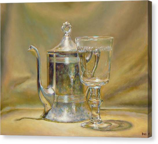 Silver Teapot And Glass Canvas Print by Jeffrey Hayes