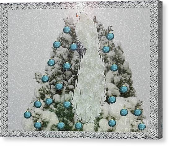 Silver Winter Bird Canvas Print
