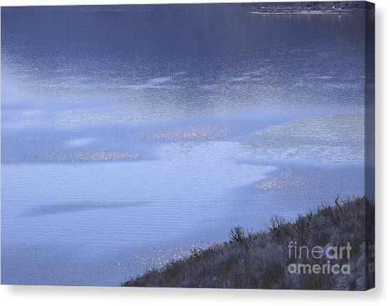 Silverwood Lake In Blue Overcast Canvas Print