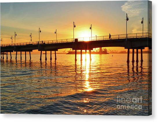 Sily Sunset At The Pier Canvas Print