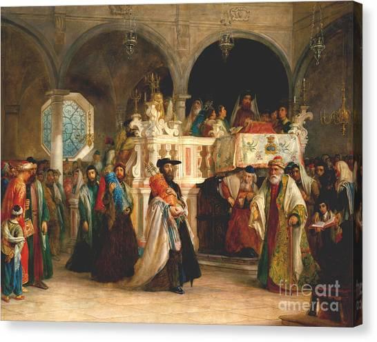 Torah Canvas Print - Simchat Torah, Livorno, 1850  by Solomon Alexander Hart