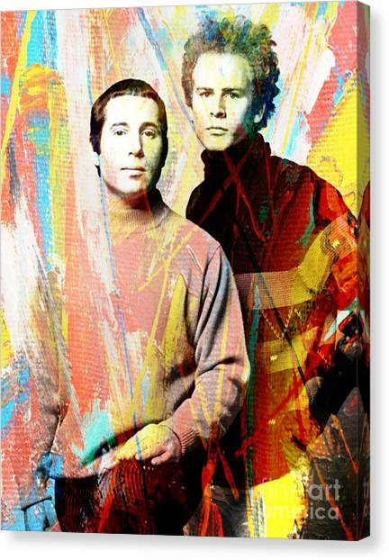 Simon And Garfunkel Canvas Print - Simon And Garfunkel Color Art Poster by Pd