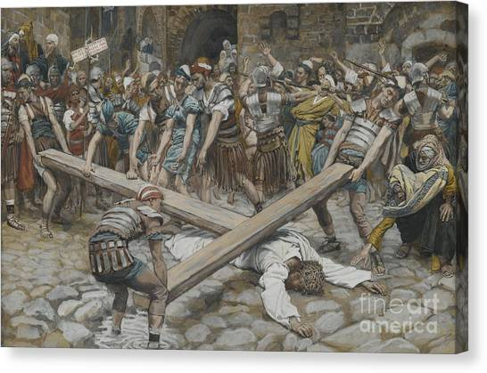 Messiah Canvas Print - Simon The Cyrenian Compelled To Carry The Cross With Jesus by Tissot