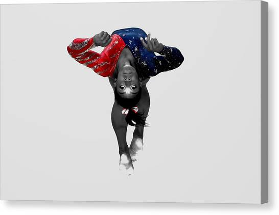 Balance Beam Canvas Print - Simone Biles In Flight by Brian Reaves