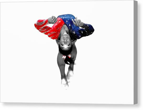 Balance Beam Canvas Print - Simone Biles Taking Flight by Brian Reaves