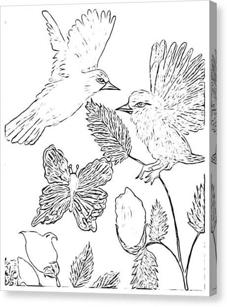 Simplistic Canvas Print - Simplistic Black White Sketch Birds by Debra Lynch