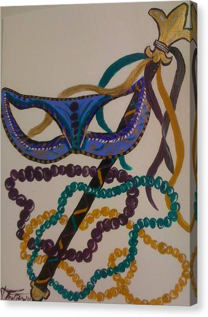 Simply Mardi Gras Canvas Print by Veronica Trotter