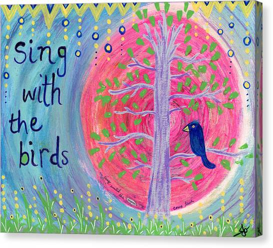 God Canvas Print - Sing With The Birds by Julia Ostara From Thrive True dot com