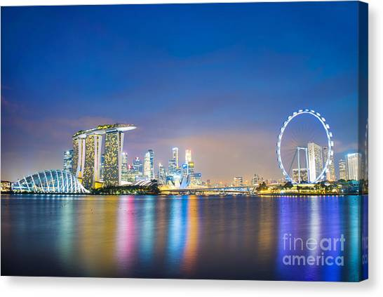 Singapore Skyline Canvas Print - Singapore Blue Hour by Delphimages Photo Creations