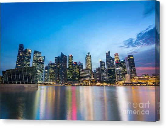 Singapore Skyline Canvas Print - Singapore By Night by Delphimages Photo Creations