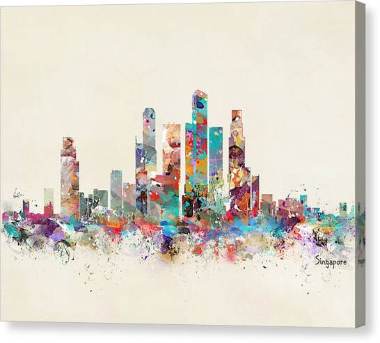 Singapore Skyline Canvas Print - Singapore City Skyline by Bleu Bri