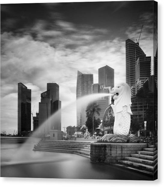Singapore Skyline Canvas Print - Singapore Harbour by Nina Papiorek