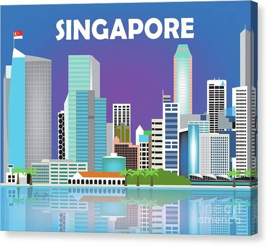 Singapore Skyline Canvas Print - Singapore Horizontal Skyline by Karen Young