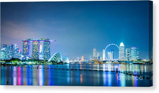 Singapore Skyline Canvas Print - Singapore Panorama by Delphimages Photo Creations
