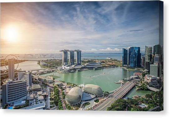 Singapore Skyline Canvas Print - Singapore Skyline by Anek Suwannaphoom