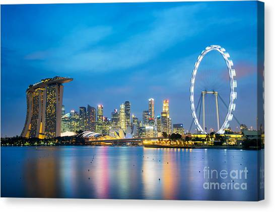 Singapore Skyline Canvas Print - Singapore Skyline by Delphimages Photo Creations