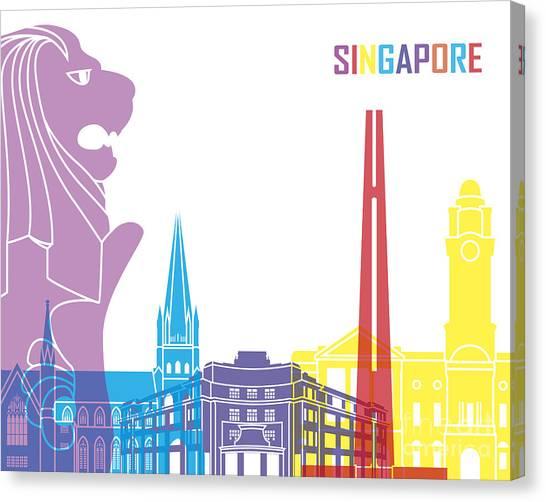 Singapore Skyline Canvas Print - Singapore Skyline Pop by Pablo Romero