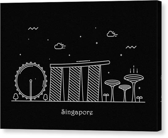 Singapore Skyline Canvas Print - Singapore Skyline Travel Poster by Inspirowl Design