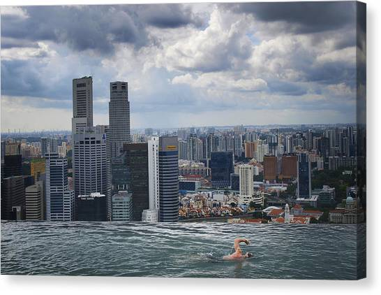 Singapore Skyline Canvas Print - Singapore Swimmer by Nina Papiorek