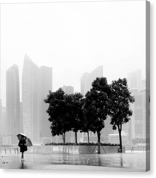 Rain Canvas Print - Singapore Umbrella by Nina Papiorek