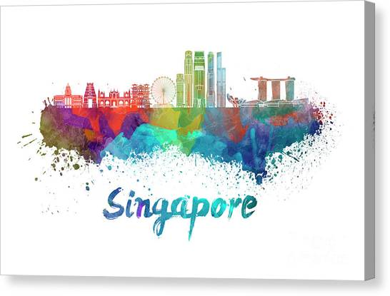 Singapore Skyline Canvas Print - Singapore V2 Skyline In Watercolor by Pablo Romero